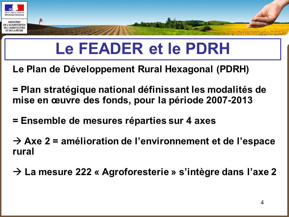 4 Le FEADER et le PDRH Le Plan de Développement Rural Hexagonal (PDRH) = Plan stratégique national définissant les modalités de mise en œuvre des fond