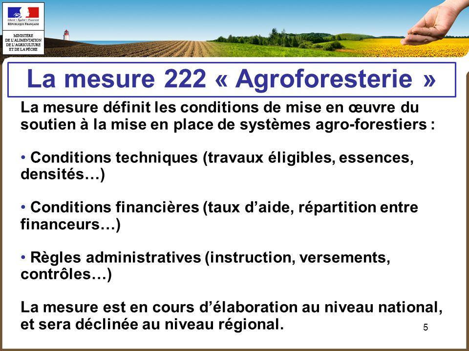 5 La mesure 222 « Agroforesterie » La mesure définit les conditions de mise en œuvre du soutien à la mise en place de systèmes agro-forestiers : Condi