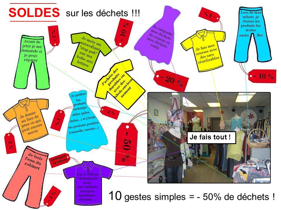 10 gestes simples = - 50% de déchets ! SOLDES sur les déchets !!! Je fais tout !