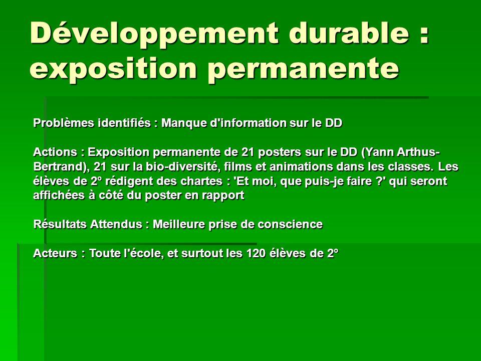 Développement durable : exposition permanente Problèmes identifiés : Manque d'information sur le DD Actions : Exposition permanente de 21 posters sur