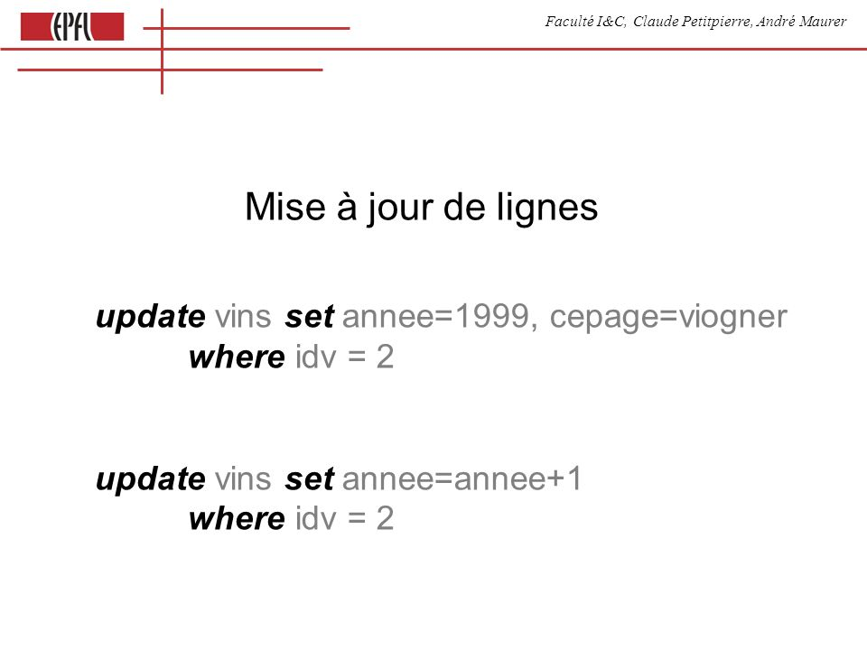 Faculté I&C, Claude Petitpierre, André Maurer Mise à jour de lignes update vins set annee=1999, cepage=viogner where idv = 2 update vins set annee=annee+1 where idv = 2