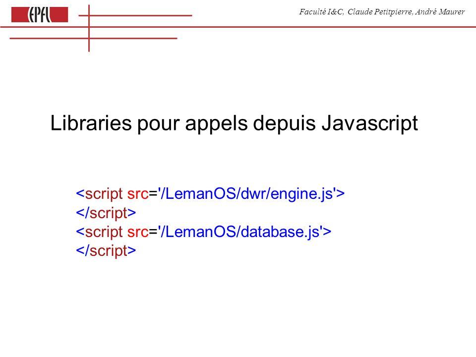 Faculté I&C, Claude Petitpierre, André Maurer Libraries pour appels depuis Javascript