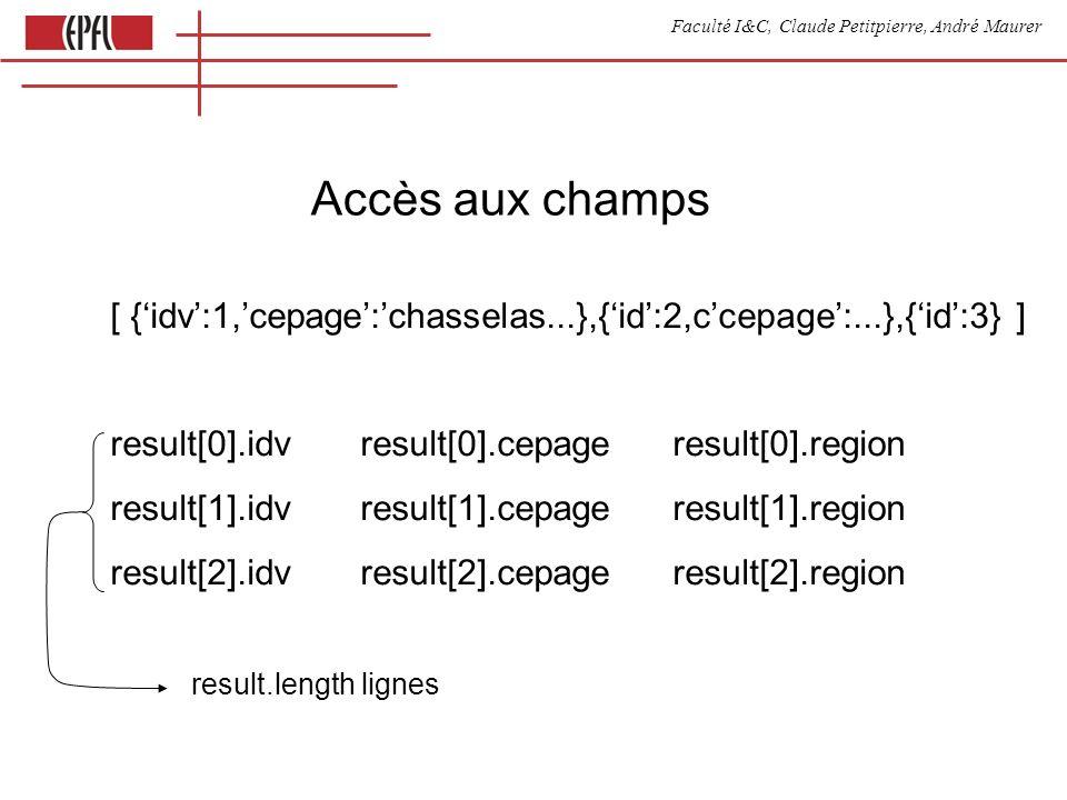 Faculté I&C, Claude Petitpierre, André Maurer Accès aux champs [ {idv:1,cepage:chasselas...},{id:2,ccepage:...},{id:3} ] result[0].idv result[0].cepage result[0].region result[1].idv result[1].cepage result[1].region result[2].idv result[2].cepage result[2].region result.length lignes