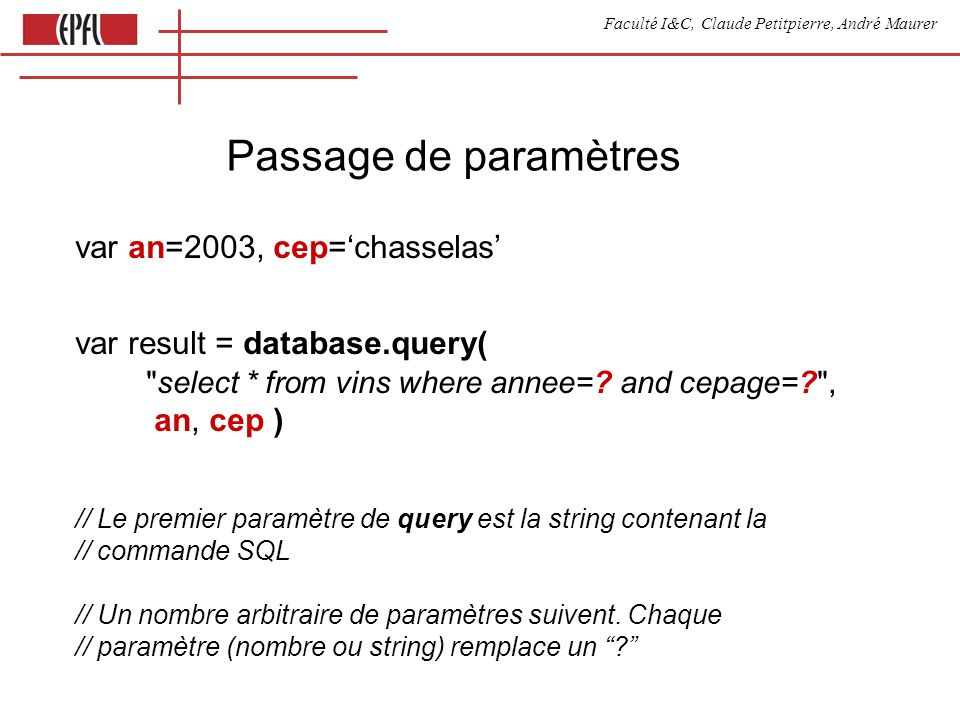 Faculté I&C, Claude Petitpierre, André Maurer Passage de paramètres var an=2003, cep=chasselas var result = database.query( select * from vins where annee=.