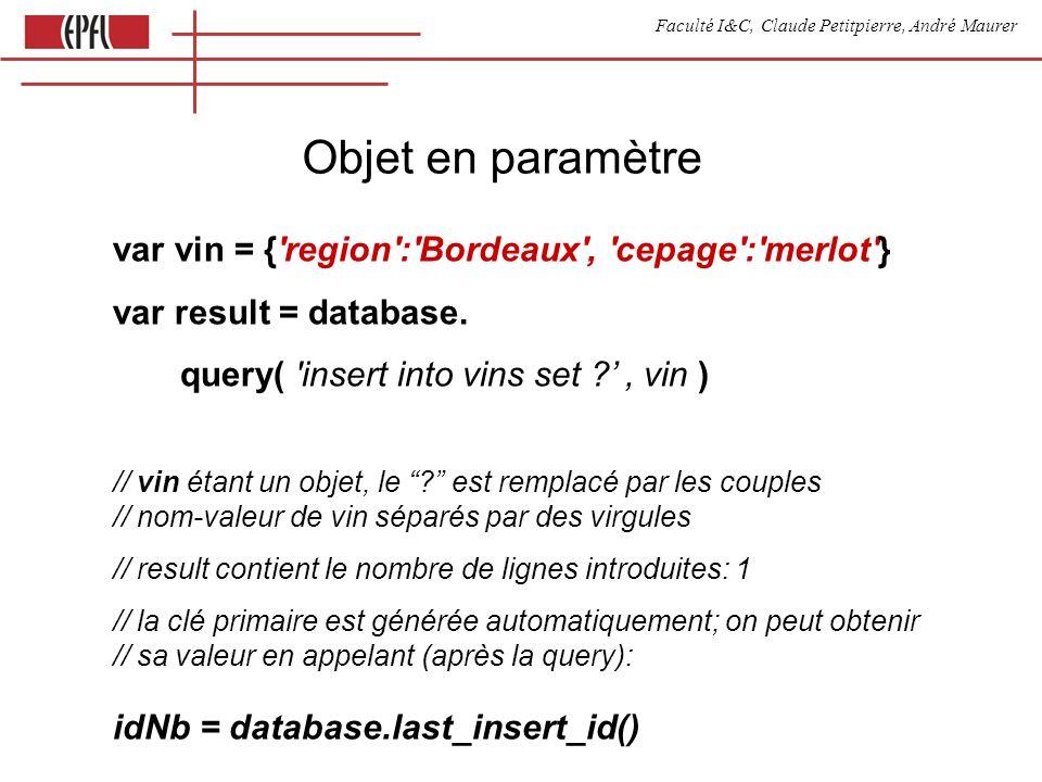 Faculté I&C, Claude Petitpierre, André Maurer Objet en paramètre var vin = { region : Bordeaux , cepage : merlot } var result = database.