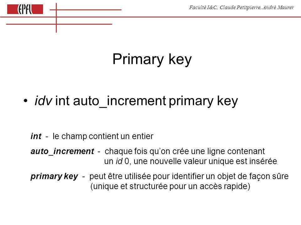 Faculté I&C, Claude Petitpierre, André Maurer Lecture dun objet var result = [ { a :2, b :3} ] for ( key in result [0] ) { document.write( result [0] [key] ) } document.close()
