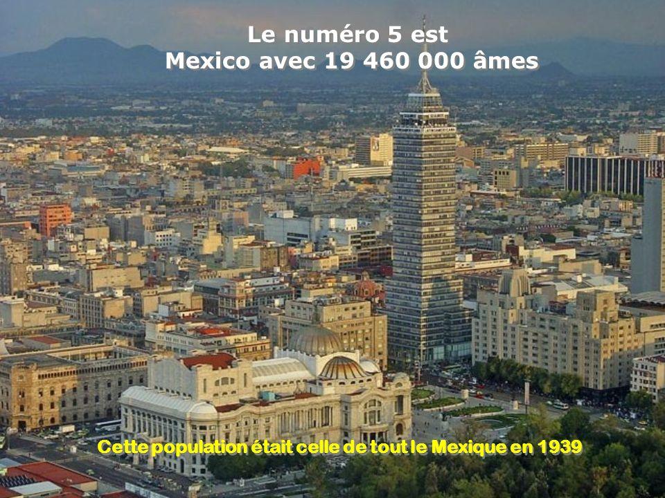 Le numéro 6 est New York avec 19 425 000 habitants Le numéro 6 est New York avec 19 425 000 habitants