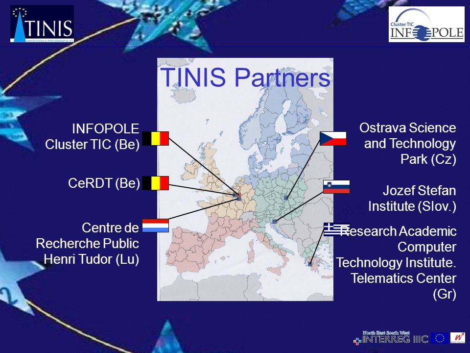 TINIS Partners CeRDT (Be) Research Academic Computer Technology Institute. Telematics Center (Gr) Ostrava Science and Technology Park (Cz) Jozef Stefa