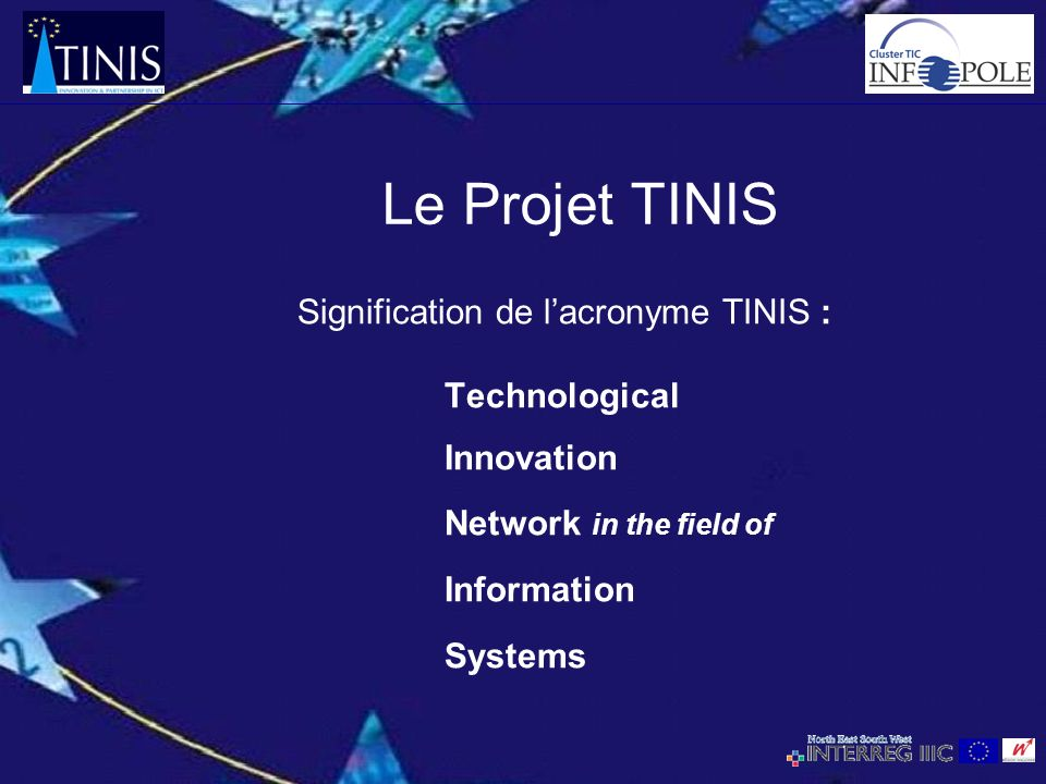 Le Projet TINIS Signification de lacronyme TINIS : Technological Innovation Network in the field of Information Systems