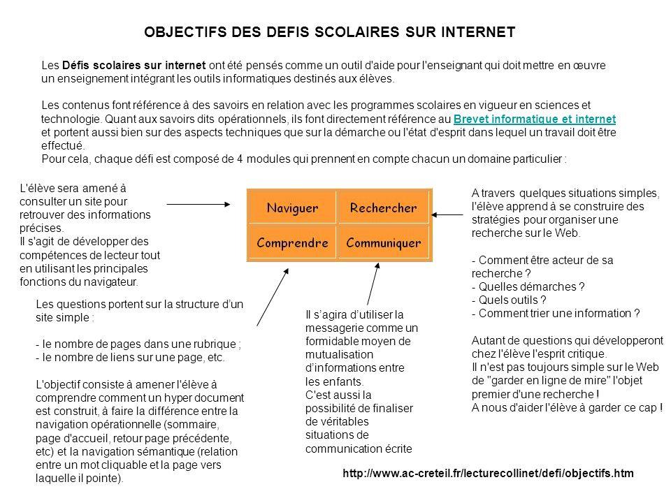 Trois grands modes dutilisation : OBJECTIFS DES DEFIS SCOLAIRES SUR INTERNET Les Défis scolaires sur internet ont été pensés comme un outil d'aide pou