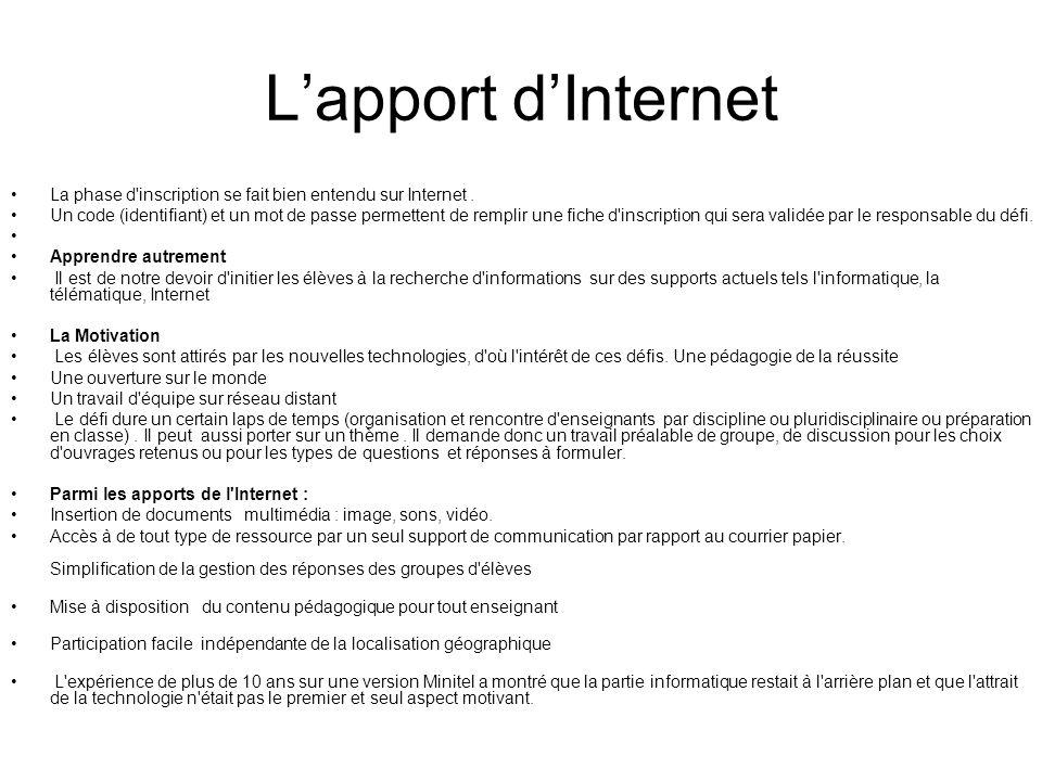 Lapport dInternet La phase d'inscription se fait bien entendu sur Internet. Un code (identifiant) et un mot de passe permettent de remplir une fiche d