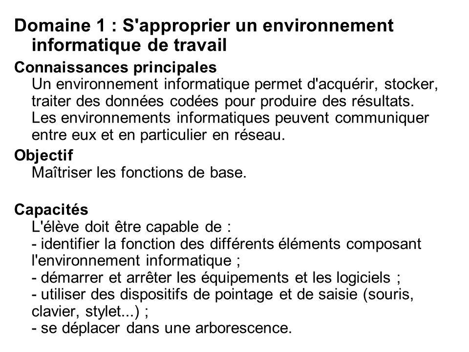 Domaine 1 : S'approprier un environnement informatique de travail Connaissances principales Un environnement informatique permet d'acquérir, stocker,