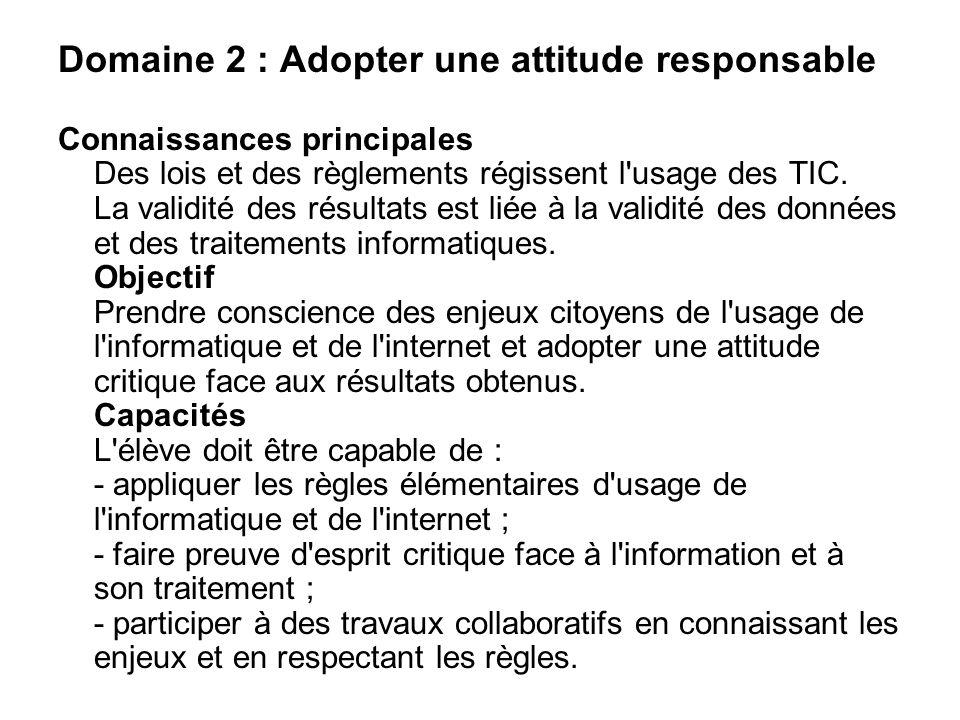Domaine 2 : Adopter une attitude responsable Connaissances principales Des lois et des règlements régissent l'usage des TIC. La validité des résultats