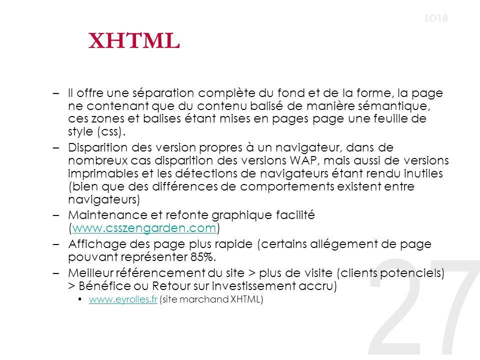 27 LO18 XHTML –Il offre une séparation complète du fond et de la forme, la page ne contenant que du contenu balisé de manière sémantique, ces zones et balises étant mises en pages page une feuille de style (css).