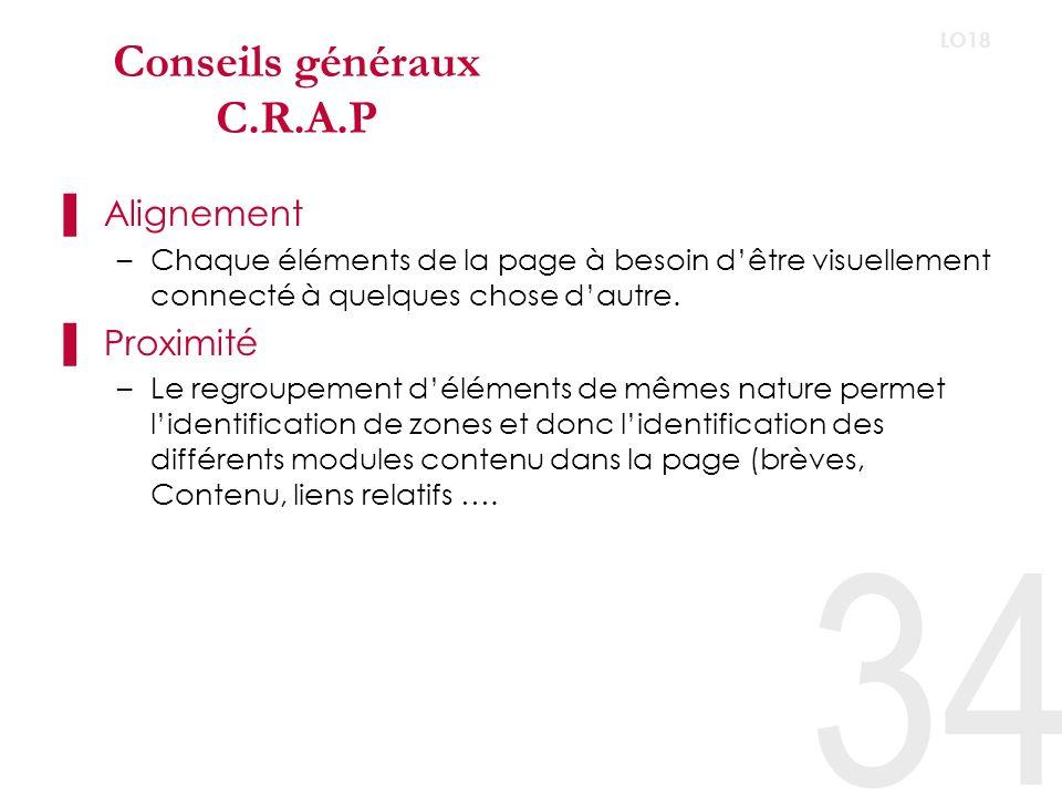 34 LO18 Conseils généraux C.R.A.P Alignement –Chaque éléments de la page à besoin dêtre visuellement connecté à quelques chose dautre.