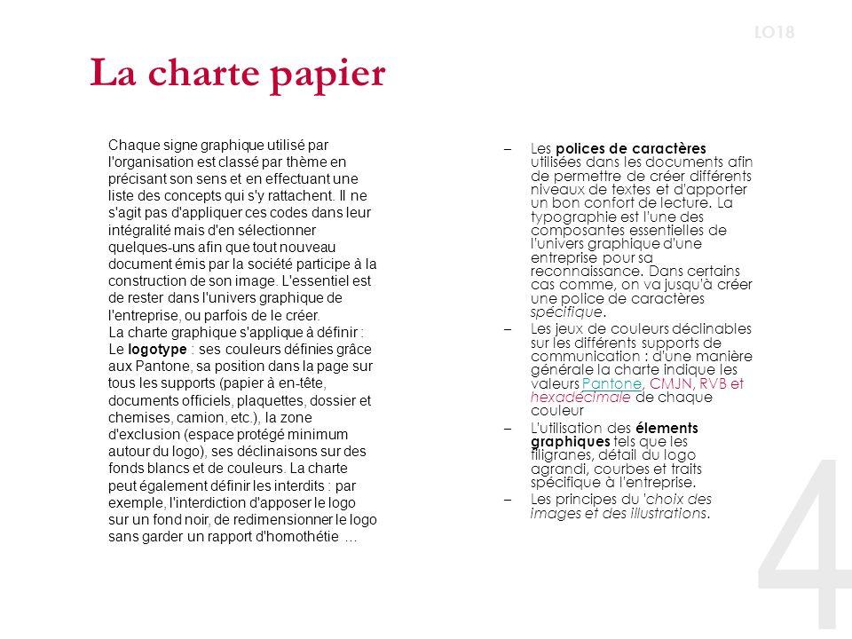 4 LO18 La charte papier –Les polices de caractères utilisées dans les documents afin de permettre de créer différents niveaux de textes et d apporter un bon confort de lecture.