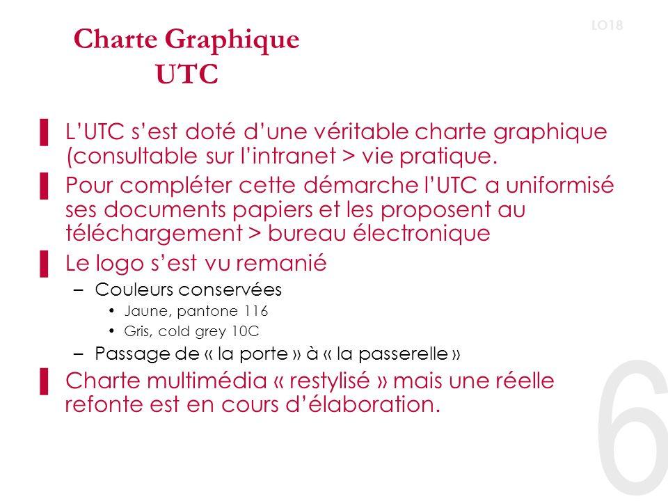 6 LO18 Charte Graphique UTC LUTC sest doté dune véritable charte graphique (consultable sur lintranet > vie pratique.