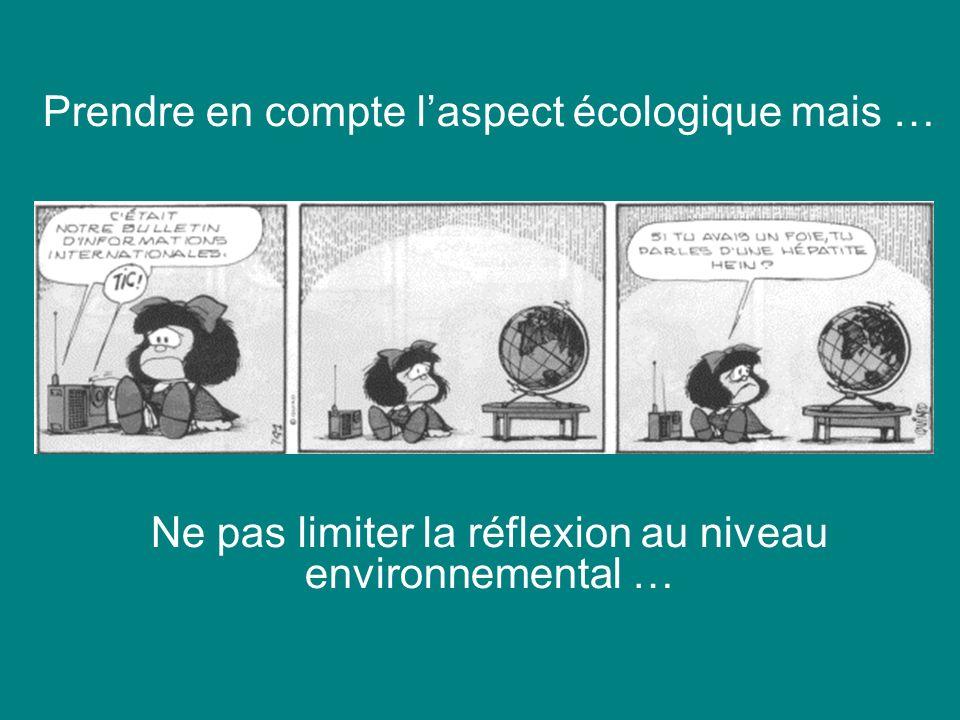 Prendre en compte laspect écologique mais … Ne pas limiter la réflexion au niveau environnemental …