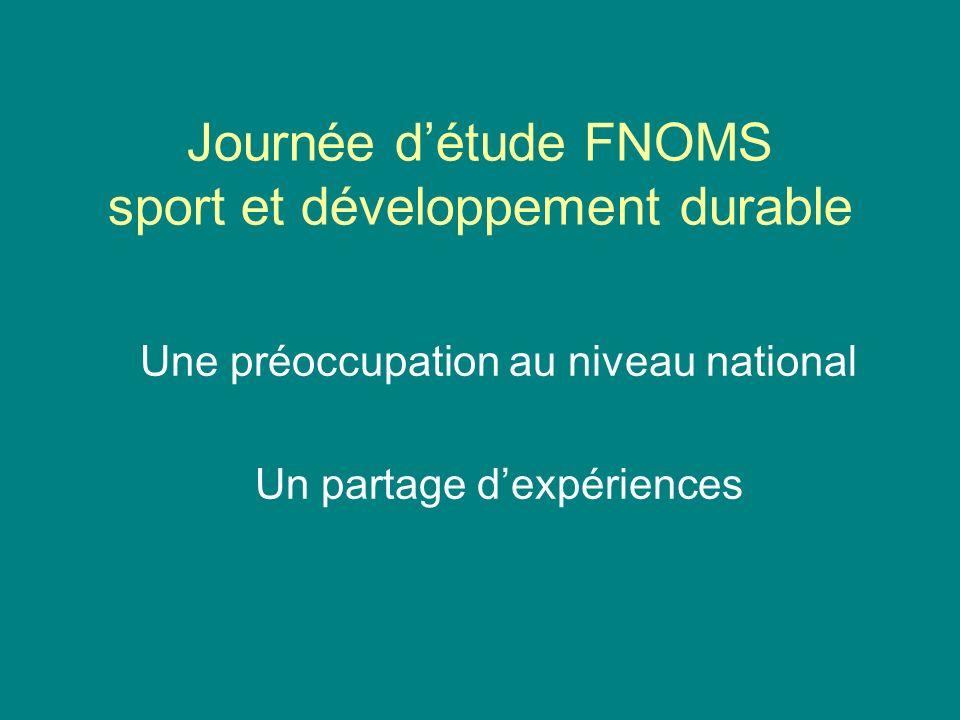 Journée détude FNOMS sport et développement durable Une préoccupation au niveau national Un partage dexpériences