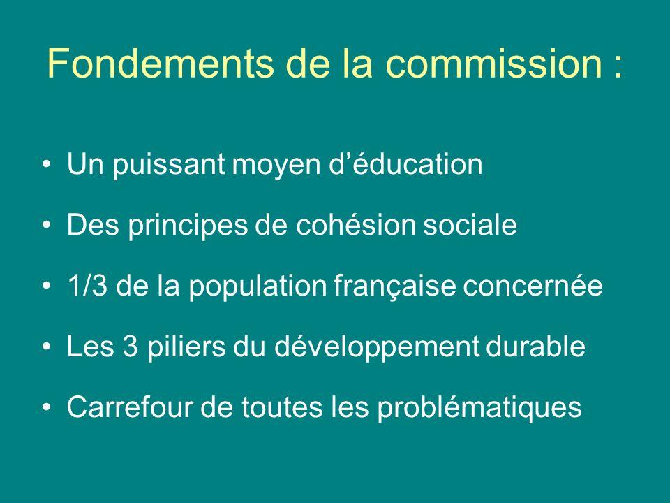 Fondements de la commission : Un puissant moyen déducation Des principes de cohésion sociale 1/3 de la population française concernée Les 3 piliers du