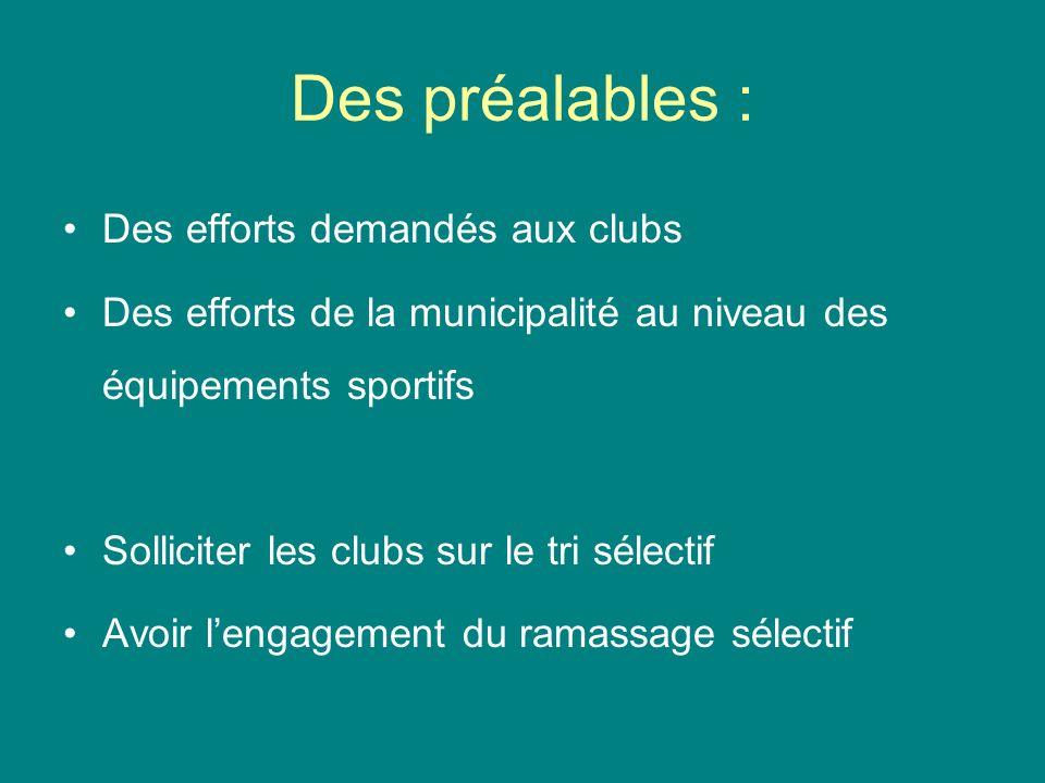 Des préalables : Des efforts demandés aux clubs Des efforts de la municipalité au niveau des équipements sportifs Solliciter les clubs sur le tri sélectif Avoir lengagement du ramassage sélectif