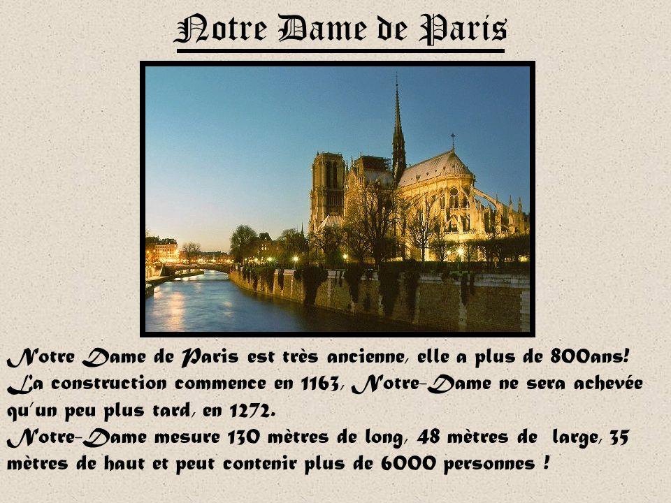 Notre Dame de Paris est très ancienne, elle a plus de 800ans.