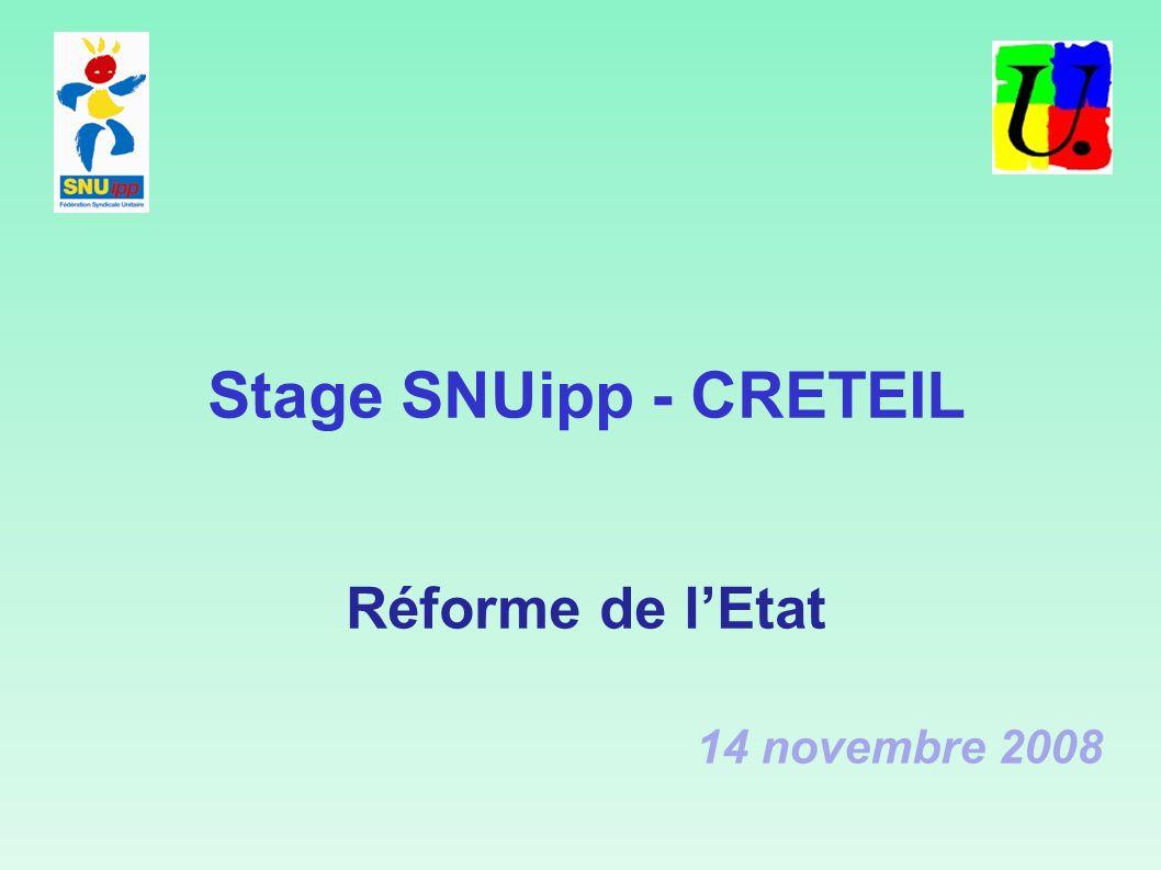 Stage SNUipp - CRETEIL Réforme de lEtat 14 novembre 2008