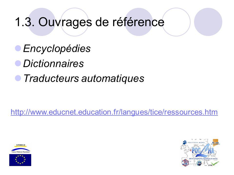 Encyclopédies Dictionnaires Traducteurs automatiques 1.3. Ouvrages de référence http://www.educnet.education.fr/langues/tice/ressources.htm