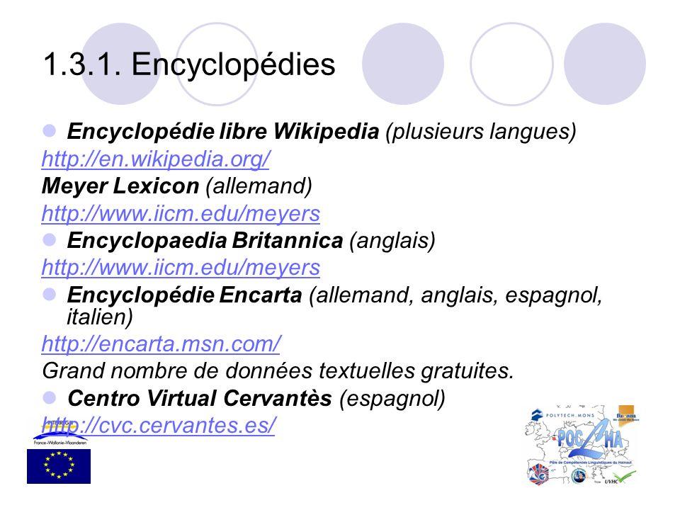 Encyclopédie libre Wikipedia (plusieurs langues) http://en.wikipedia.org/ Meyer Lexicon (allemand) http://www.iicm.edu/meyers Encyclopaedia Britannica