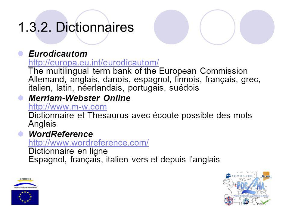 Eurodicautom http://europa.eu.int/eurodicautom/ The multilingual term bank of the European Commission Allemand, anglais, danois, espagnol, finnois, fr