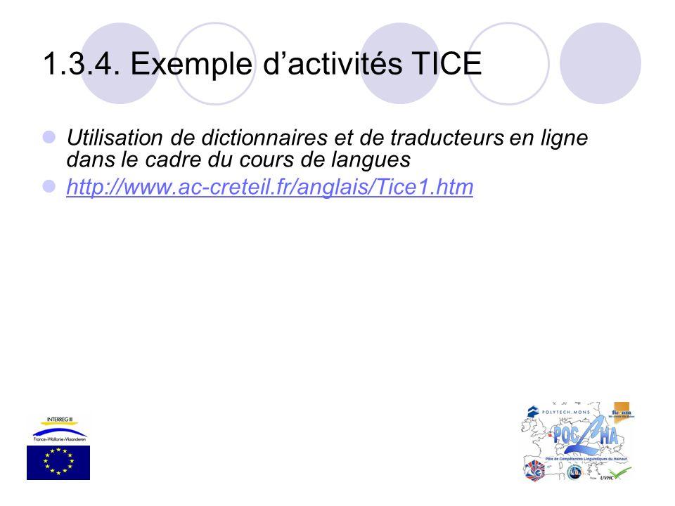 Utilisation de dictionnaires et de traducteurs en ligne dans le cadre du cours de langues http://www.ac-creteil.fr/anglais/Tice1.htm 1.3.4. Exemple da