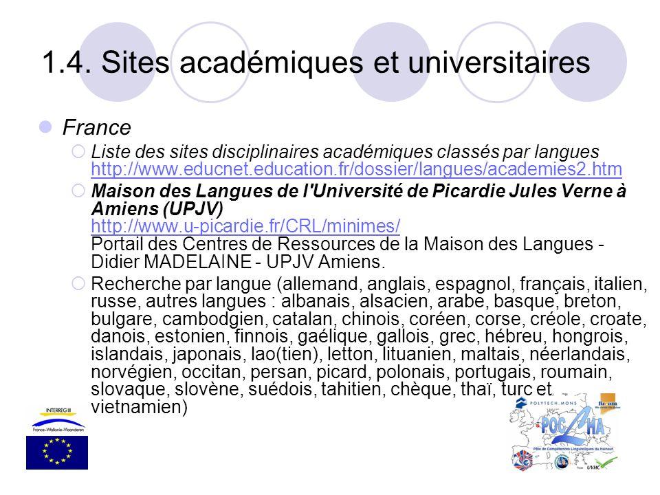 France Liste des sites disciplinaires académiques classés par langues http://www.educnet.education.fr/dossier/langues/academies2.htm http://www.educne