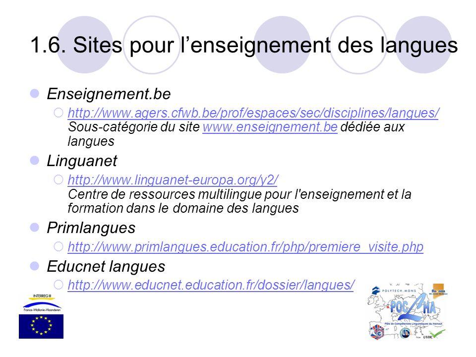 Enseignement.be http://www.agers.cfwb.be/prof/espaces/sec/disciplines/langues/ Sous-catégorie du site www.enseignement.be dédiée aux langues http://ww