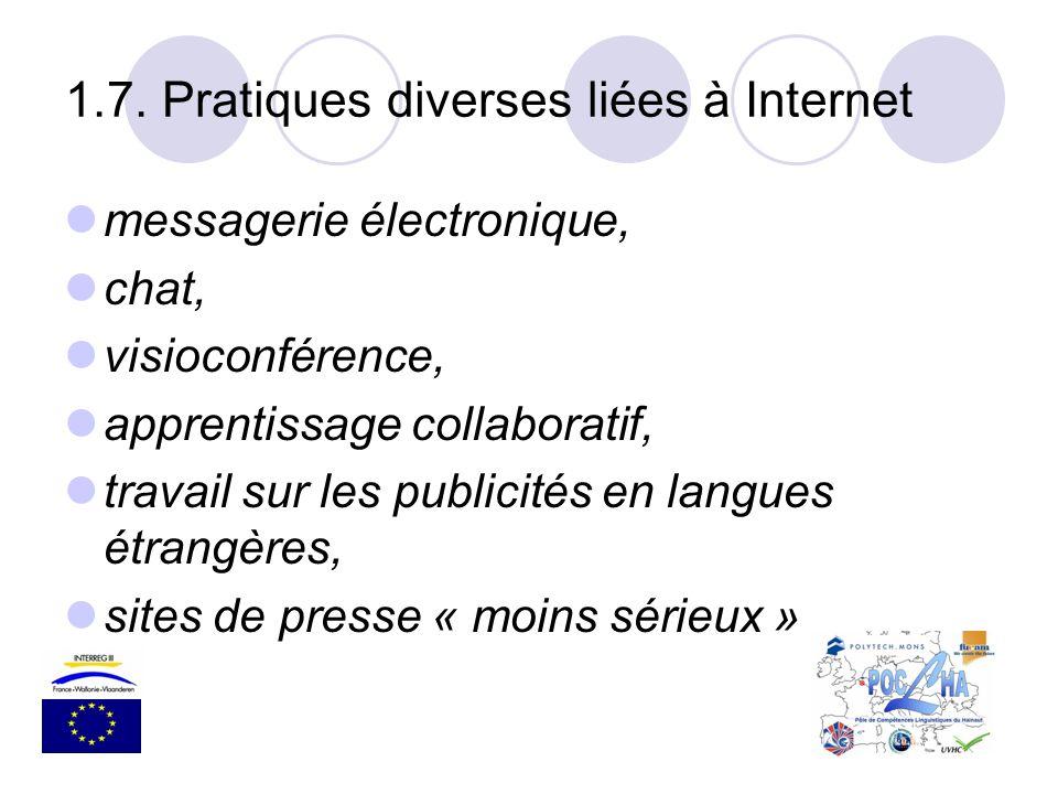 messagerie électronique, chat, visioconférence, apprentissage collaboratif, travail sur les publicités en langues étrangères, sites de presse « moins