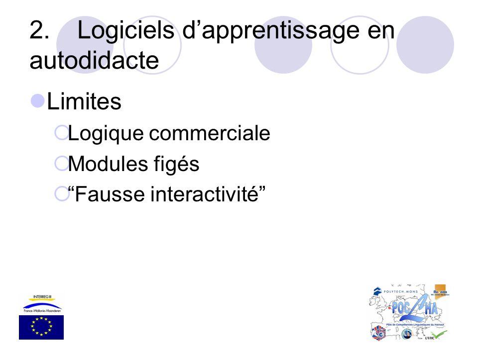 2.Logiciels dapprentissage en autodidacte Limites Logique commerciale Modules figés Fausse interactivité