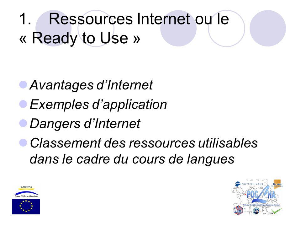 1.Ressources Internet ou le « Ready to Use » Avantages dInternet Exemples dapplication Dangers dInternet Classement des ressources utilisables dans le