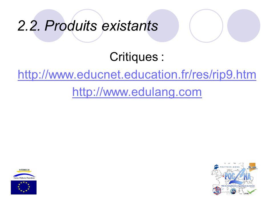 2.2.Produits existants Critiques : http://www.educnet.education.fr/res/rip9.htm http://www.edulang.com