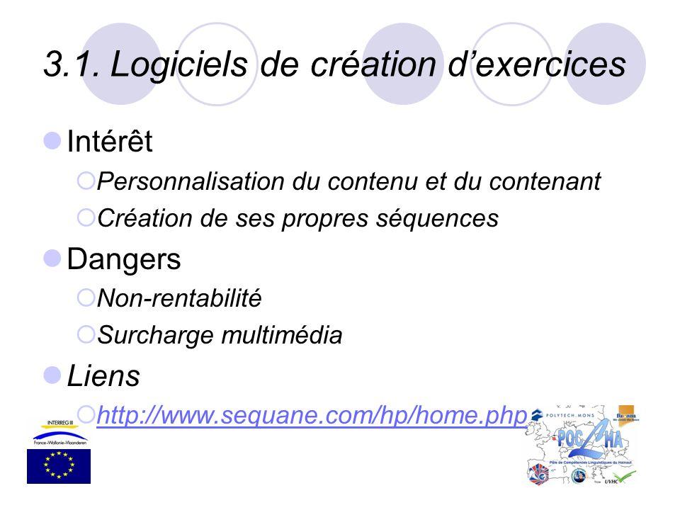 3.1.Logiciels de création dexercices Intérêt Personnalisation du contenu et du contenant Création de ses propres séquences Dangers Non-rentabilité Sur