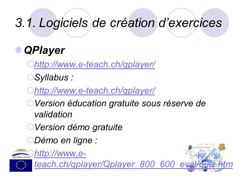 3.1.Logiciels de création dexercices QPlayer http://www.e-teach.ch/qplayer/ Syllabus : http://www.e-teach.ch/qplayer/ Version éducation gratuite sous