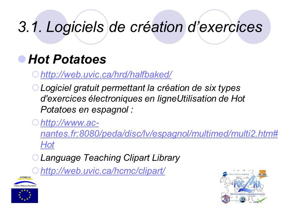 3.1.Logiciels de création dexercices Hot Potatoes http://web.uvic.ca/hrd/halfbaked/ Logiciel gratuit permettant la création de six types d'exercices é