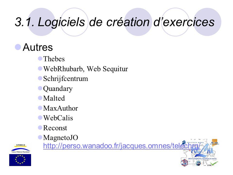 3.1.Logiciels de création dexercices Autres Thebes WebRhubarb, Web Sequitur Schrijfcentrum Quandary Malted MaxAuthor WebCalis Reconst MagnetoJO http:/