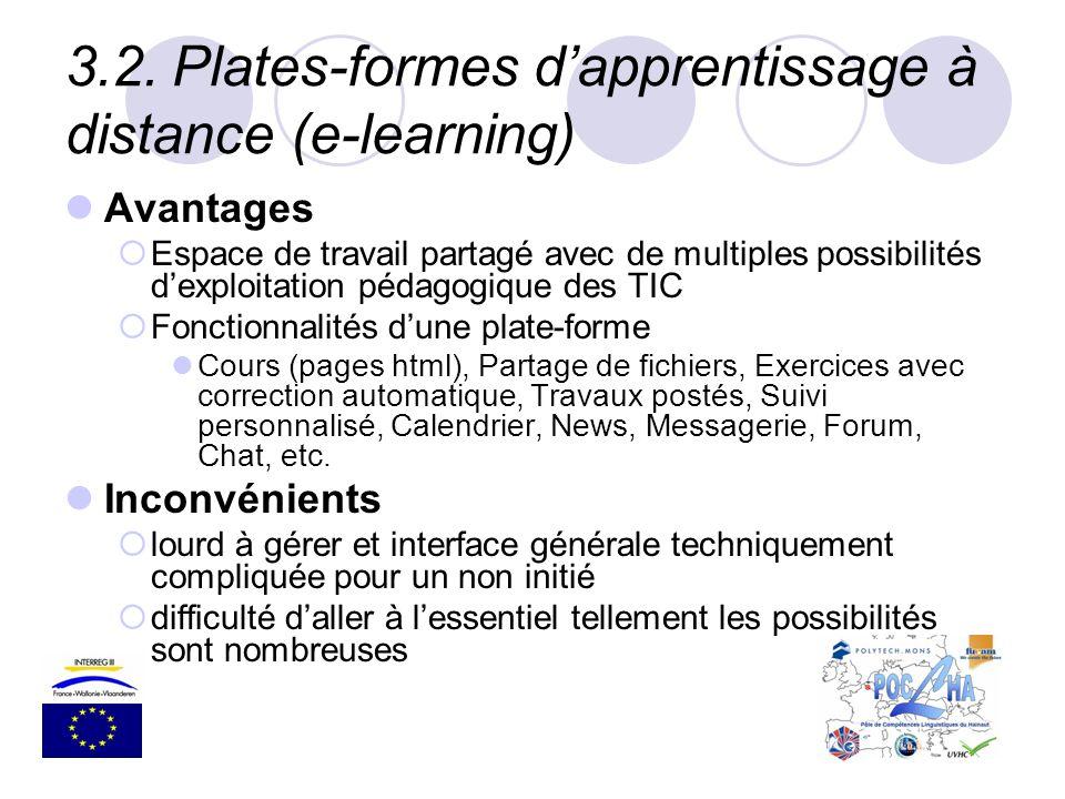 3.2.Plates-formes dapprentissage à distance (e-learning) Avantages Espace de travail partagé avec de multiples possibilités dexploitation pédagogique