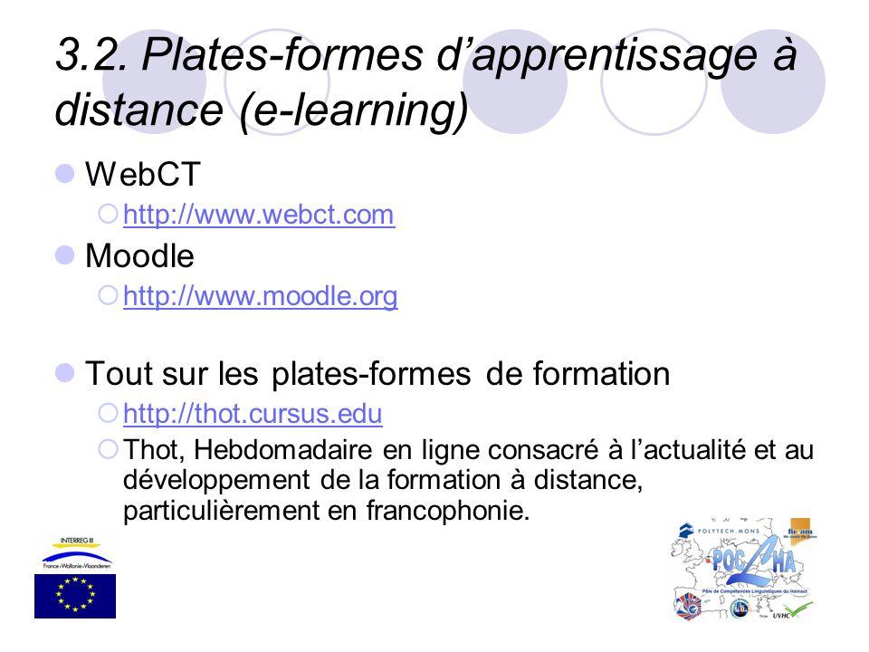 3.2.Plates-formes dapprentissage à distance (e-learning) WebCT http://www.webct.com Moodle http://www.moodle.org Tout sur les plates-formes de formati