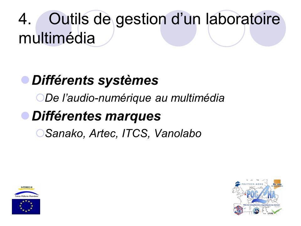 4.Outils de gestion dun laboratoire multimédia Différents systèmes De laudio-numérique au multimédia Différentes marques Sanako, Artec, ITCS, Vanolabo