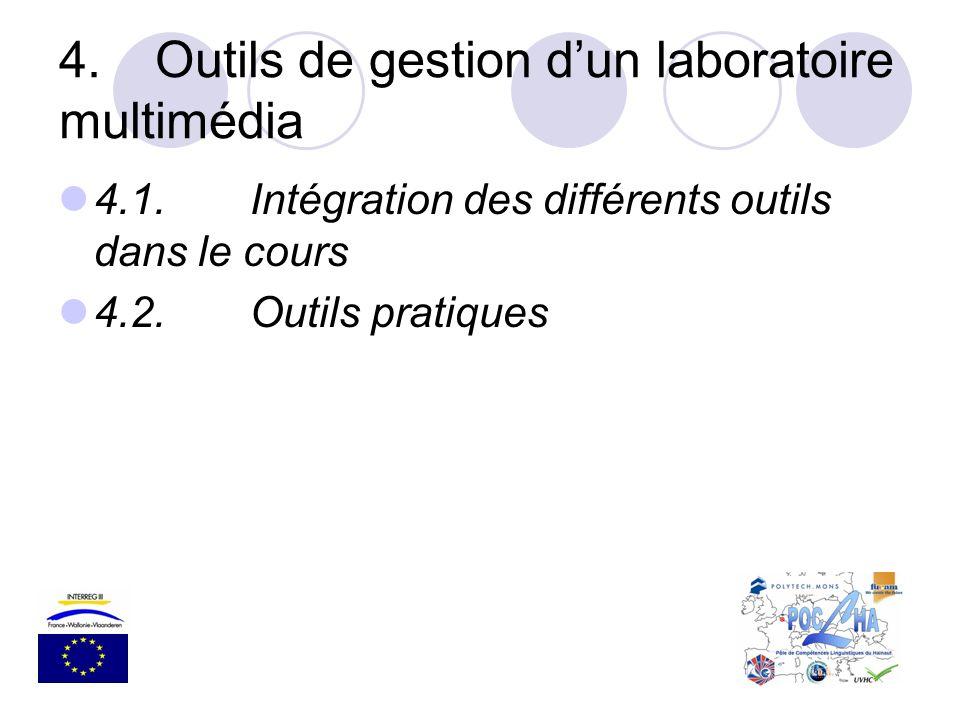 4.Outils de gestion dun laboratoire multimédia 4.1.Intégration des différents outils dans le cours 4.2.Outils pratiques