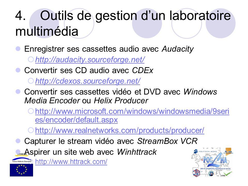 4.Outils de gestion dun laboratoire multimédia Enregistrer ses cassettes audio avec Audacity http://audacity.sourceforge.net/ Convertir ses CD audio a