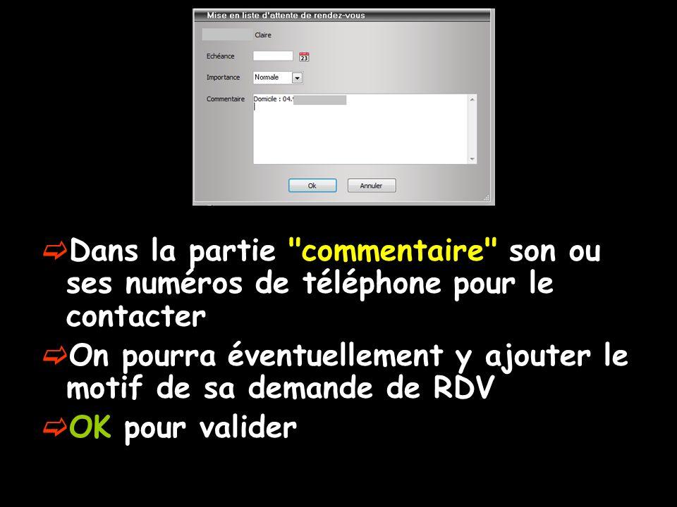Dans la partie commentaire son ou ses numéros de téléphone pour le contacter On pourra éventuellement y ajouter le motif de sa demande de RDV OK pour valider