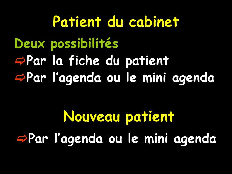 Patient du cabinet Deux possibilités Par la fiche du patient Par lagenda ou le mini agenda Nouveau patient Par lagenda ou le mini agenda