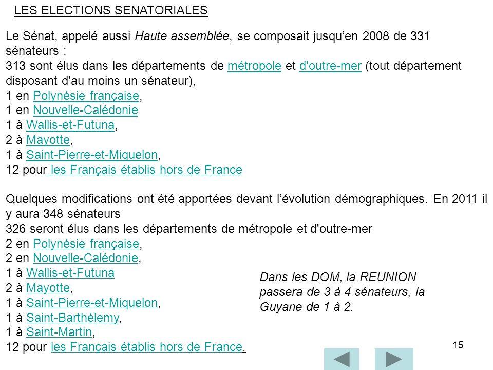 15 Le Sénat, appelé aussi Haute assemblée, se composait jusquen 2008 de 331 sénateurs : 313 sont élus dans les départements de métropole et d'outre-me