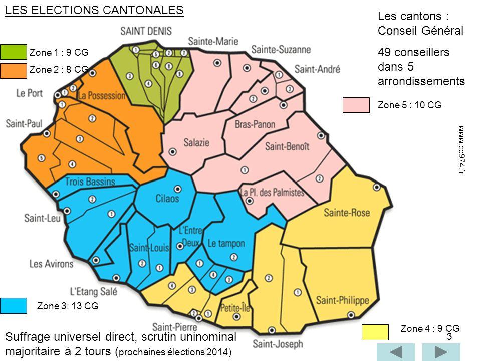 3 Les cantons : Conseil Général 49 conseillers dans 5 arrondissements Zone 1 : 9 CG Zone 2 : 8 CG Zone 3: 13 CG Zone 4 : 9 CG Zone 5 : 10 CG Suffrage